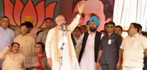 Narendra Modi lors d'un meeting au Pendjab ©DR