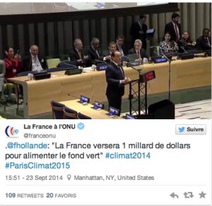 La France s'est engagée à verser 1 milliard de dollars pour le fonds vert. © @franceonu